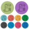 Digital certificate color darker flat icons - Digital certificate darker flat icons on color round background