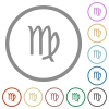 virgo zodiac symbol flat icons with outlines - virgo zodiac symbol flat color icons in round outlines on white background