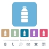 Water bottle flat icons on color rounded square backgrounds - Water bottle white flat icons on color rounded square backgrounds. 6 bonus icons included