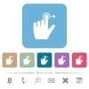 Left handed slide right gesture flat icons on color rounded square backgrounds - Left handed slide right gesture white flat icons on color rounded square backgrounds. 6 bonus icons included