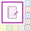 Spiral notepad with pencil flat framed icons - Spiral notepad with pencil flat color icons in square frames on white background
