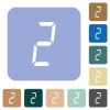 digital number two of seven segment type rounded square flat icons - digital number two of seven segment type white flat icons on color rounded square backgrounds