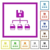 Save file as multiple format flat color icons in square frames on white background - Save file as multiple format flat framed icons