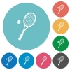 Tennis racket with ball flat round icons - Tennis racket with ball flat white icons on round color backgrounds