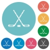 Hockey sticks with puck flat round icons - Hockey sticks with puck flat white icons on round color backgrounds