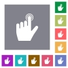 left handed clicking gesture square flat icons - left handed clicking gesture flat icons on simple color square backgrounds