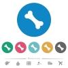 Single bone flat round icons - Single bone flat white icons on round color backgrounds. 6 bonus icons included.
