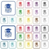 Graduation cap with books outlined flat color icons - Graduation cap with books color flat icons in rounded square frames. Thin and thick versions included.