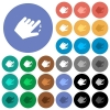 Left handed pinch close gesture multi colored flat icons on round backgrounds. Included white, light and dark icon variations for hover and active status effects, and bonus shades. - Left handed pinch close gesture round flat multi colored icons
