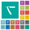 Straight razor multi colored flat icons on plain square backgrounds. Included white and darker icon variations for hover or active effects. - Straight razor square flat multi colored icons