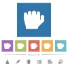 Left handed grab gesture flat white icons in square backgrounds - Left handed grab gesture flat white icons in square backgrounds. 6 bonus icons included.
