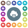Cloud printing flat white icons on round color backgrounds - Cloud printing flat white icons on round color backgrounds. 17 background color variations are included.