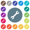 Single wrench flat white icons on round color backgrounds - Single wrench flat white icons on round color backgrounds. 17 background color variations are included.