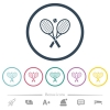 Tennis rackets with ball flat color icons in round outlines - Tennis rackets with ball flat color icons in round outlines. 6 bonus icons included.