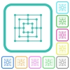 Nine men's morris game board vivid colored flat icons - Nine men's morris game board vivid colored flat icons in curved borders on white background