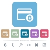 Bitcoin credit card flat icons on color rounded square backgrounds - Bitcoin credit card white flat icons on color rounded square backgrounds. 6 bonus icons included