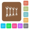 Set of wrenches rounded square flat icons - Set of wrenches flat icons on rounded square vivid color backgrounds.