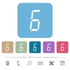 digital number six of seven segment type flat icons on color rounded square backgrounds - digital number six of seven segment type white flat icons on color rounded square backgrounds. 6 bonus icons included