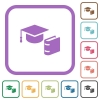 Graduation cap with book simple icons - Graduation cap with book simple icons in color rounded square frames on white background