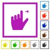 Left handed move right gesture flat framed icons - Left handed move right gesture flat color icons in square frames on white background