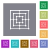Nine men's morris game board flat icons on simple color square backgrounds - Nine men's morris game board square flat icons