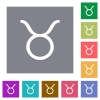 Taurus zodiac symbol square flat icons - Taurus zodiac symbol flat icons on simple color square backgrounds