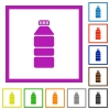 Water bottle flat framed icons - Water bottle flat color icons in square frames on white background