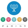 Tennis rackets with ball flat round icons - Tennis rackets with ball flat white icons on round color backgrounds. 6 bonus icons included.