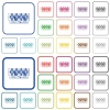 Roulette table outlined flat color icons - Roulette table color flat icons in rounded square frames. Thin and thick versions included.
