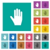 Right hand square flat multi colored icons - Right hand multi colored flat icons on plain square backgrounds. Included white and darker icon variations for hover or active effects.
