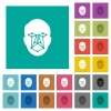 Face recognition square flat multi colored icons - Face recognition multi colored flat icons on plain square backgrounds. Included white and darker icon variations for hover or active effects.