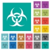 Biohazard sign square flat multi colored icons - Biohazard sign multi colored flat icons on plain square backgrounds. Included white and darker icon variations for hover or active effects.