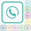 Hotline vivid colored flat icons - Hotline vivid colored flat icons in curved borders on white background