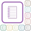 Notepad simple icons - Notepad simple icons in color rounded square frames on white background