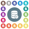 Database processing flat white icons on round color backgrounds. 17 background color variations are included. - Database processing flat white icons on round color backgrounds