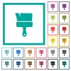 Paint brush flat color icons with quadrant frames - Paint brush flat color icons with quadrant frames on white background