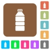 Water bottle rounded square flat icons - Water bottle flat icons on rounded square vivid color backgrounds.