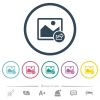 Export image flat color icons in round outlines. 6 bonus icons included. - Export image flat color icons in round outlines
