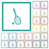 Tennis racket with ball flat color icons with quadrant frames - Tennis racket with ball flat color icons with quadrant frames on white background