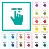right handed scroll right gesture flat color icons with quadrant frames - right handed scroll right gesture flat color icons with quadrant frames on white background