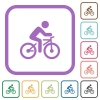 Bicycle with rider simple icons - Bicycle with rider simple icons in color rounded square frames on white background