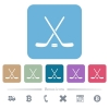 Hockey sticks with puck flat icons on color rounded square backgrounds - Hockey sticks with puck white flat icons on color rounded square backgrounds. 6 bonus icons included