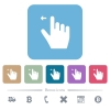 Right handed move left gesture flat icons on color rounded square backgrounds - Right handed move left gesture white flat icons on color rounded square backgrounds. 6 bonus icons included