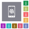 Mobile movie square flat icons - Mobile movie flat icons on simple color square backgrounds