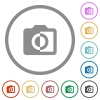 Monochrome photos flat icons with outlines - Monochrome photos flat color icons in round outlines on white background