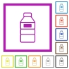 Water bottle with label flat framed icons - Water bottle with label flat color icons in square frames on white background