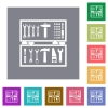 Toolbox flat icons on simple color square backgrounds - Toolbox square flat icons