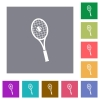 Tennis racket with ball square flat icons - Tennis racket with ball flat icons on simple color square backgrounds