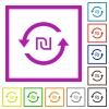 New Shekel pay back flat framed icons - New Shekel pay back flat color icons in square frames on white background