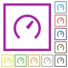 Speedometer flat color icons in square frames on white background - Speedometer flat framed icons